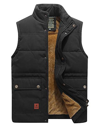 KEFITEVD Heren Winter Fleeced Vissersvest Warm Winddicht Lichaam Warmer Outdoor Fotografie Waistcoat Ski Gilet met Multi Pockets