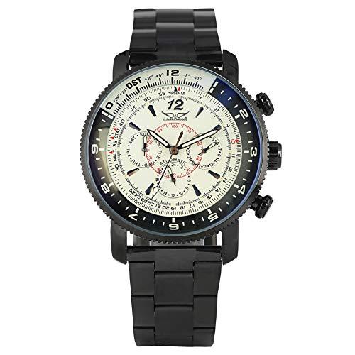 Mechanische Herren-Armbanduhr mit Datumsanzeige, Analog-Uhr, Schwarz, Edelstahl, präzises Zifferblatt-Design, selbstaufziehend, mechanisch, goldene Uhr, Skelett-Geschenk für Männer