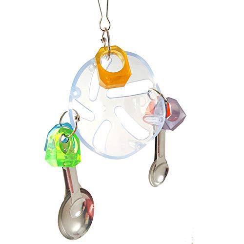 Wansan 1 Stück Ring aus Kunststoff Kugel Suppenlöffel Kette Papagei Biss Spielzeug Ring Kinder Spielzeug Übung Intelligenz