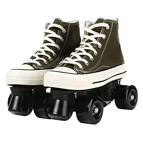 DLXYch Patines de lona, Zapatos deportivos deslizantes de dos líneas de cuatro ruedas, Patines deportivos de gimnasio al aire libre, Patines de doble fila para adultos