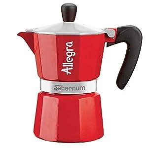 Aeternum Allegra Caffettiera Espresso per 6 Tazze, Alluminio, Rosso, 17 x 10 x 21 cm