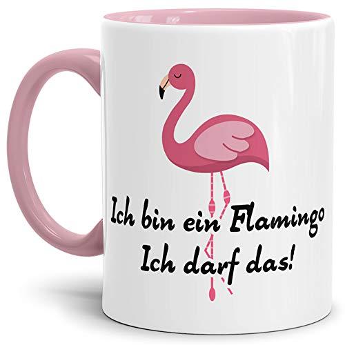 Tassendruck Spruch-Tasse Ich Bin EIN Flamingo Ich darf Das Innen & Henkel Rosa - Mug/Cup/Becher/Lustig/Witzig/Kollege/Arbeit/Schule/Lehrer/Geschenk-Idee/Fun/Beste Qualität - 25 Jahre Erfahrung