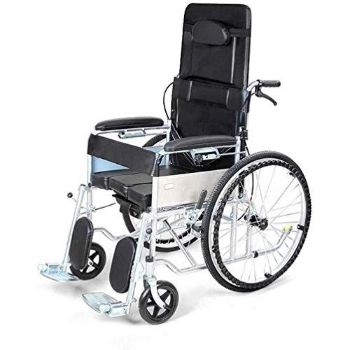 Wheelchair Silla de Ruedas, Respaldo Alto reclinable Silla de Ruedas Plegable móvil Aseo con Inodoro Espesado Vehículo de tubería de Acero de Cuatro Ruedas portátil Walker (Color : Black) 🔥