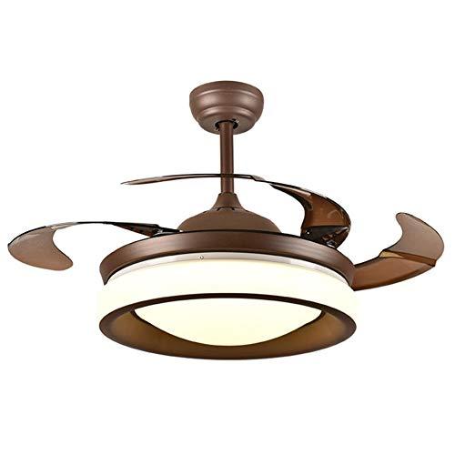 QCLU Ventilador de Techo con luz de 42 Pulgadas con Control Remoto de la lámpara 3 de los Colores de la lámpara de Techo Ventilador con 4 Cuchillas retráctiles for Sala de Estar, Dormitorio, Cocina
