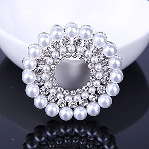 Vottle Broches de Flores de Color Plateado de Cristal con Diamantes de imitación Mujeres, Hombres, Boda, Fiesta Nupcial, Broche de Ramo Redondo, Pin Transparente