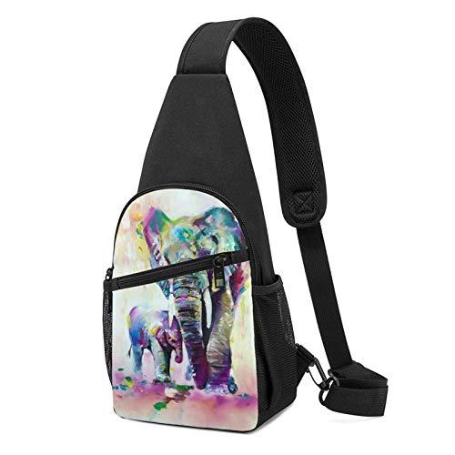 DJNGN Bolso bandolera de elefantes indios coloridos abstractos vintage, bandolera, viaje, senderismo, cofre, mochila
