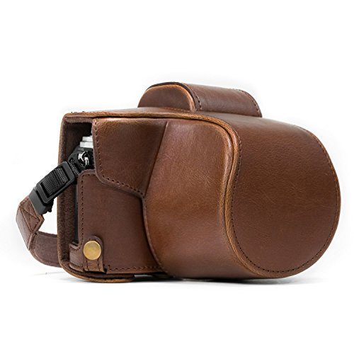 MegaGear Olympus OM-D E-M10 Mark II (14-42mm), E-M10 Ever Ready Leather Camera Case and Strap, with Battery Access - Dark Brown - MG994