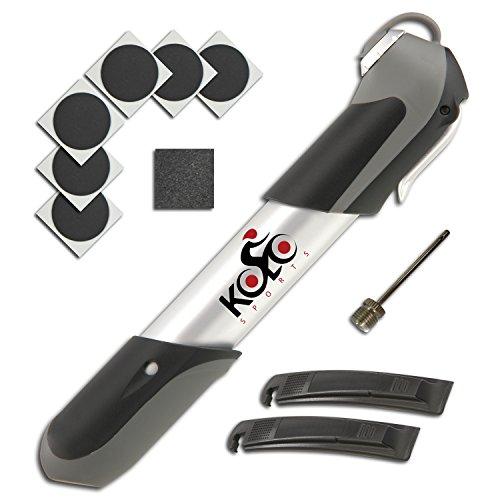 Kolo Sports Closeout Deal: Mini Bike Pump Bike Tire Repair Essentials Kit - Frame Mounted 120 Psi Aluminum Telescopic Pump - Presta & Schrader Compatible Valve