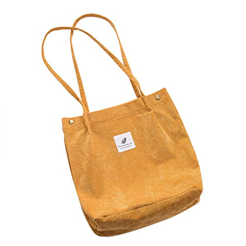 Belsmi 13 Inches Corduroy Small Totes Bag (Yellow)