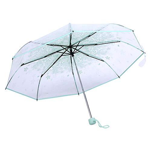 Oumij Ombrello Pieghevole Ombrello Pioggia Automatico Aperto Portatile Mini Trasparente alla Moda Ombrello Principessa Fiore di Ciliegio(Verde)