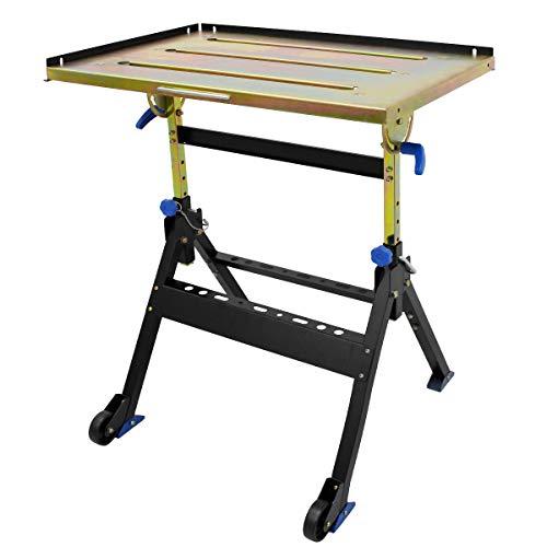 ECD Germany Table de Soudure Soudage 76 x 51 cm - Pliable - Réglable en Hauteur 74-86 cm - Inclinable 0-90° - Charge jusqu'à 160 kg - en Acier - avec 2 Roulettes - Table de Travail d'Atelier