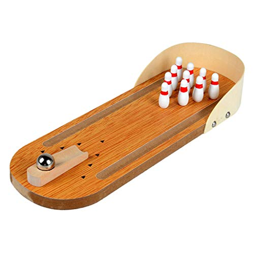 For Sale! Toygogo Tabletop Mini Bowling Game Set | Moveable Launcher for Easy Aim | Performance Wooden Construction | Perfect for Kids & Adults
