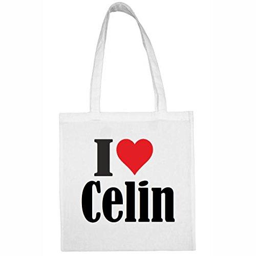 Tasche I Love Celin Größe 38x42 Farbe Weiss Druck Schwarz