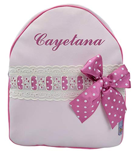 Mochila o Bolsa Infantil Lencera Personalizada con Nombre plastificada. Modelo Emma (Rosa)