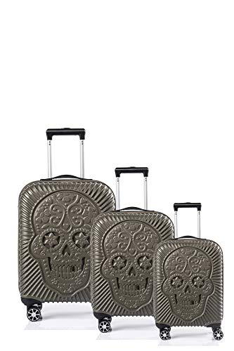 CCS SKULL 8 Wheels Suitcase Travel Luggage Bag Trolley Carry On Hard Shell Lightweight (S (Cabin Bag 38x55x22cm), Green)