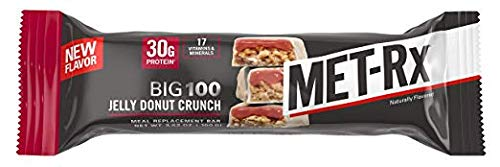 MET-Rx Big 100 Protein Bar, Great as Meal Replacement, Snack, and Help Support Energy, Gluten Free, 30g of Protein, Jelly Donut Crunch Bar, With Vitamin A, Vitamin C, and Zinc, 9 Count