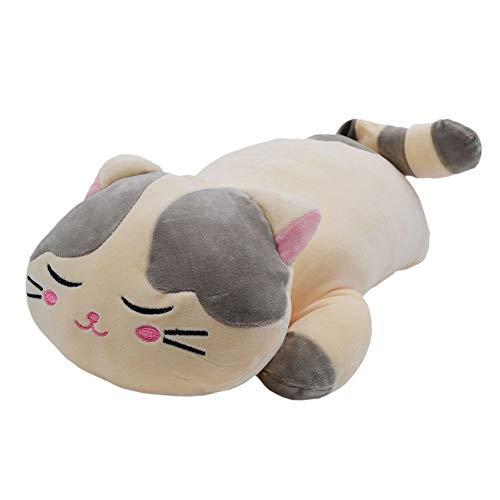 MassJoy Very Soft Cat Big Hugging Pillow Plush Kitten Kitty Stuffed Animals Gray