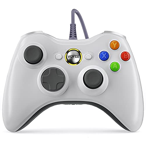 VOYEE PC Controller, Wired Controller Compatible with Microsoft Xbox 360 & Slim/PC Windows 10/8/7, with Upgraded Joystick, Double Shock | Enhanced (White)