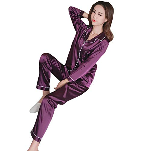 Huaheng Seide Damen Schlafanzüge Mädchen Schlafanzüge Anzug Satin Nachthemd Pyjama Langärmliges Oberteil Lang Hose Set - Lila, 5XL