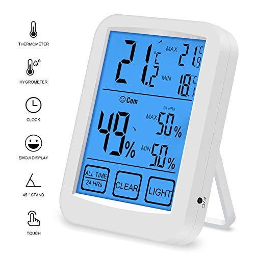 QUTAII Termómetro Higrómetro de Interior, Medidor de Digital Temperatura Humedad con Pantalla táctil LCD, Profesional Medidor Termohigrómetro con luz de Fondo Azul para Familia y Oficina (Azul)