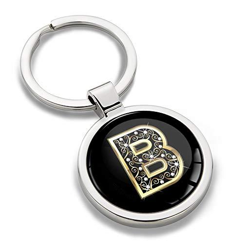 Biomar Labs® Schlüsselanhänger Buchstabe Metall Keyring Buchstaben Initialen Alphabet Autoschlüssel Geschenk Metall-Schlüsselanhänger Schlüsselbund Edelstahl Gold B, KK 54