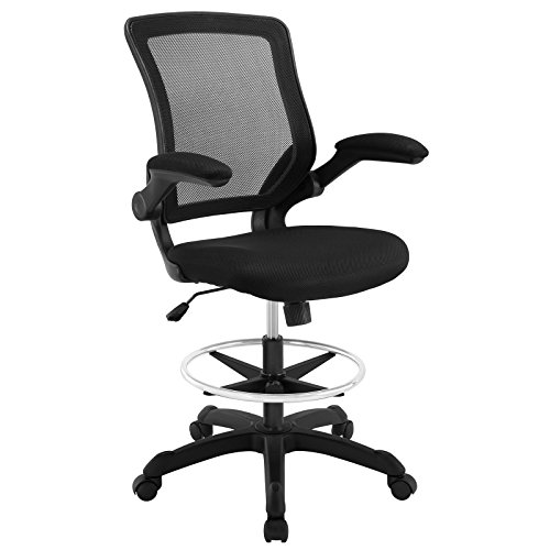 Modway Veer Drafting Chair – Reception Desk Chair – Flip-Up Arm Drafting Chair in Black