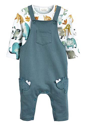 next Baby - Jungen Nashorn-Latzhose und Body im Set Petrol 3-6 Monate