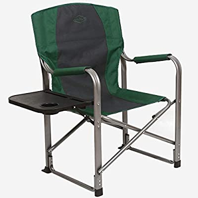 Kamp-Rite KAMP CC103 Director's Chair Outdoor Furniture Camping Folding Sports Chair with Side Table and Cup Holder, Green/Gray