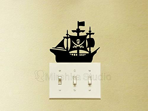 Piraat Schip Licht Schakelaar Sticker - Kwekerij Muurdecoratie - Kapitein haak Laptop Sticker - Piraat Vlag Muur Kunst - Peter Pan Art - Vinyl Auto Decal
