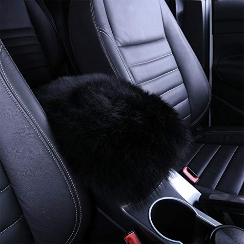 QINU Armrest Cover for Car, Auto Center Console Pad Furry Sheepskin Wool Car Armrest Seat Box Cover Protector Universal Fit (Black)