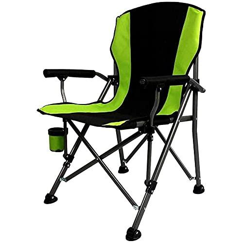 Silla de camping ultraligera portátil, silla de camping acolchada de gran tamaño, silla plegable de aluminio con respaldo alto plegable con soporte para tazas, soporta 300 libras para playa, B