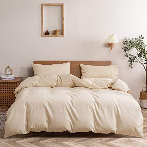Ropa de cama de 135 x 200 cm, algodón, color beige, juego de funda nórdica monocolor, 2 piezas, funda nórdica moderna y funda de almohada de 80 x 80 cm con cremallera