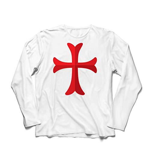 lepni.me Camiseta de Manga Larga para Hombre El Caballero Templario de la Cruz Roja, el Templo de la Orden de Salomón (X-Large Blanco Multicolor)