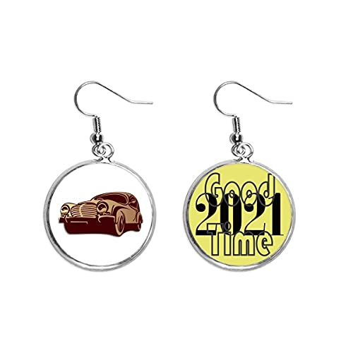 Deep Red Classic Cars Outline Pattern Pendientes Ear Pendants Jewelry 2021 Buena suerte