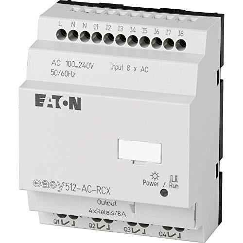 EATON EASY512-AC-RCX Relés Programables, Easy500, 100-240V AC, Reloj de Tiempo Real, 8DI(2AI), 4DO Relé