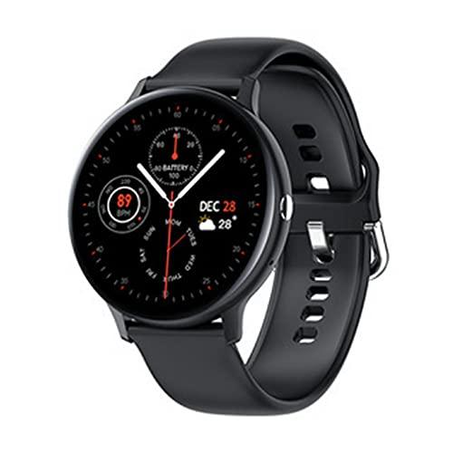 Haowen Reloj Inteligente para Hombre con Pantalla Redonda y táctil Completa, Reloj Deportivo de monitoreo de Fitness, Negro 44.7 * 11.5 mm