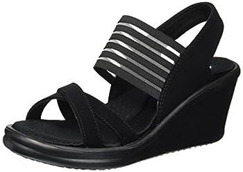 Skechers womens Rumblers - Solar Burst Wedge Sandal Black/Black 8.5 US