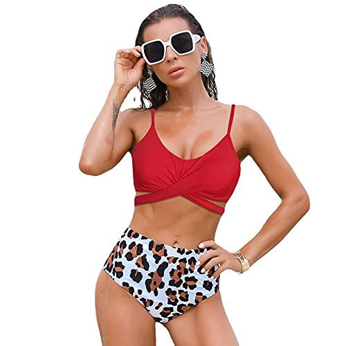 HGFDSA Traje De Baño Sexy De Dos Piezas para Mujer, Bikini De Traje De Baño Bandeau, Pantalones De Natación De Guepardo Recortado, Trajes De Baño De Cintura Alta, Bebé Cuties,Rojo,M