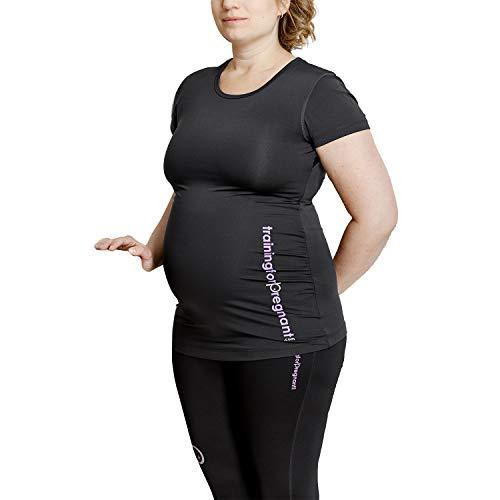 Training For Pregnant My T-Shirt Big Logo Umstandstop Lang, Schwarz   sehr bequemes Umstandsmode Damen Oberteil   Schwangerschaftstop Yoga/Sport Top in der Schwangerschaft Größe M
