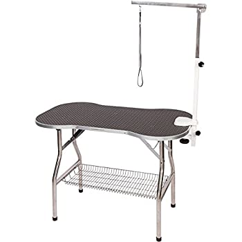 Flying Pig Heavy Duty Stainless Steel Pet Dog Cat Bone Pattern Rubber Surface Grooming Table With Arm/Noose  Black 38  L X 22  W