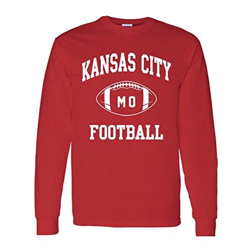 Kansas City Classic Football Arch American Football Team Long Sleeve T Shirt - 2X-Large - Red