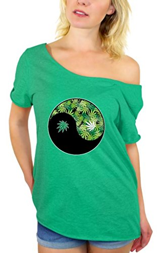 Awkwardstyles Women's Yin Yang Weed Off Shoulder Tops T-Shirt + Bookmark S Kelly