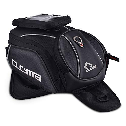 Tank Bag,Motorcycle Tank Bag Waterproof with Strong Magnetic,PU Leather Motorcycle Bags with Rain Cover and Enhancement Straps for Honda Yamaha Suzuki Kawasaki Harley(Medium)