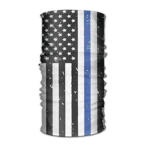 dingjiakemao Unisex Stylish Police Thin Line Flag USA Quick Dry Microfiber Headwear Outdoor Magic Bandana As Neck Gaiter Head Wrap Headband Scarf Face Mask Ultra Soft Elastic One Size