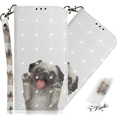 MRSTERUS Samsung J2 Core Case 3D Fashion Creative Cute Cover PU Leather Shockproof Flip Notebook Wallet Case Magnetic Bracket Card Slot Folio Bumper Case for Samsung J2 Core Pug TX