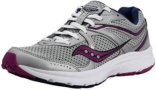 Saucony Women's Cohesion 11 Running Shoe, White/Violet, 8 M US