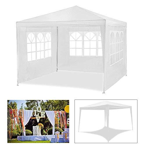 huigou HG® 3x3m festzelte Weiß Garten Camping Pavillion mit extra dickem Stahlgestänge Wasserdicht Fenster Camping Festival als Unterstand und Plane Vereinszelt Festzelt