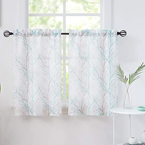 Fmfunctex Aqua Tree Print Tiers Curtains 24 inches Long Small Window Curtain Set for Bathroom Basement Grey White Branch Café Curtain Panels 1 Pair