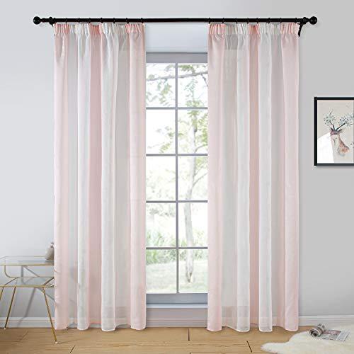 Topfinel 2er Set Transparent Rosa-Weiß-Streifen Voile Gardinen mit Kräuselband Dekoration Vorhänge Für Kinderzimmer,140x245cm