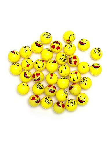 Cousin DIY Smiley Expressions Fun Pack, 36 Emoji-Perlen aus Acryl in leuchtendem Gelb